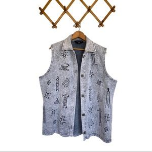 🌻 Bfofo Tribal Signs Print Wearable Art Vest XL